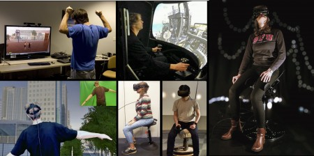 "3D user interface examples including gestures, bi-manual joystick, leaning (""human joystick""), and flying"